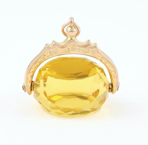 Antique 9Ct Rosey Gold And Citrine Colour Stone Swivel / Spinner Fob / Pendant